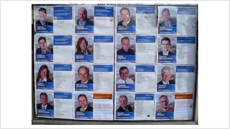 Unser CDU-Schaukasten am Kirchweg aktuell dekoriert: Unsere Kandidaten und ihre Wahlbezirke zur Kommunalwahl am 26. Mai